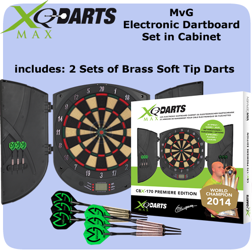 Electronic Dartboard And Cabinet Set   Michael Van Gerwen   XQMax    Complete With 6 Darts   CBX 170