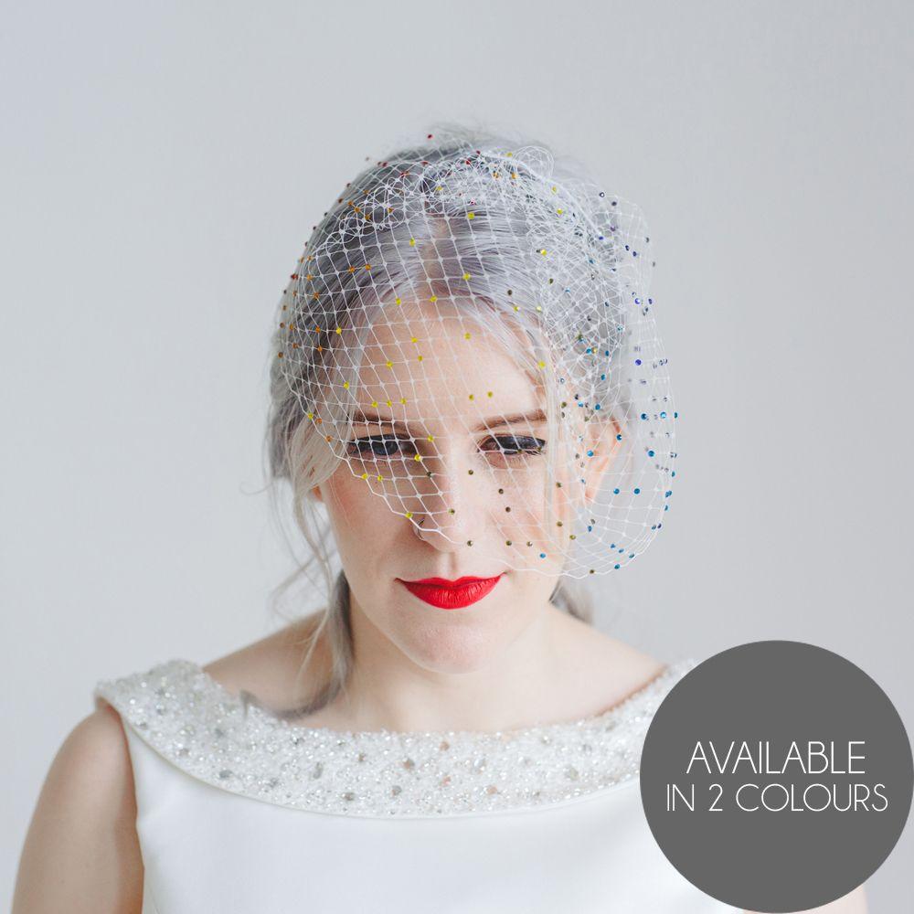 ivory or black birdcage veil, hand-embellished with hundreds of