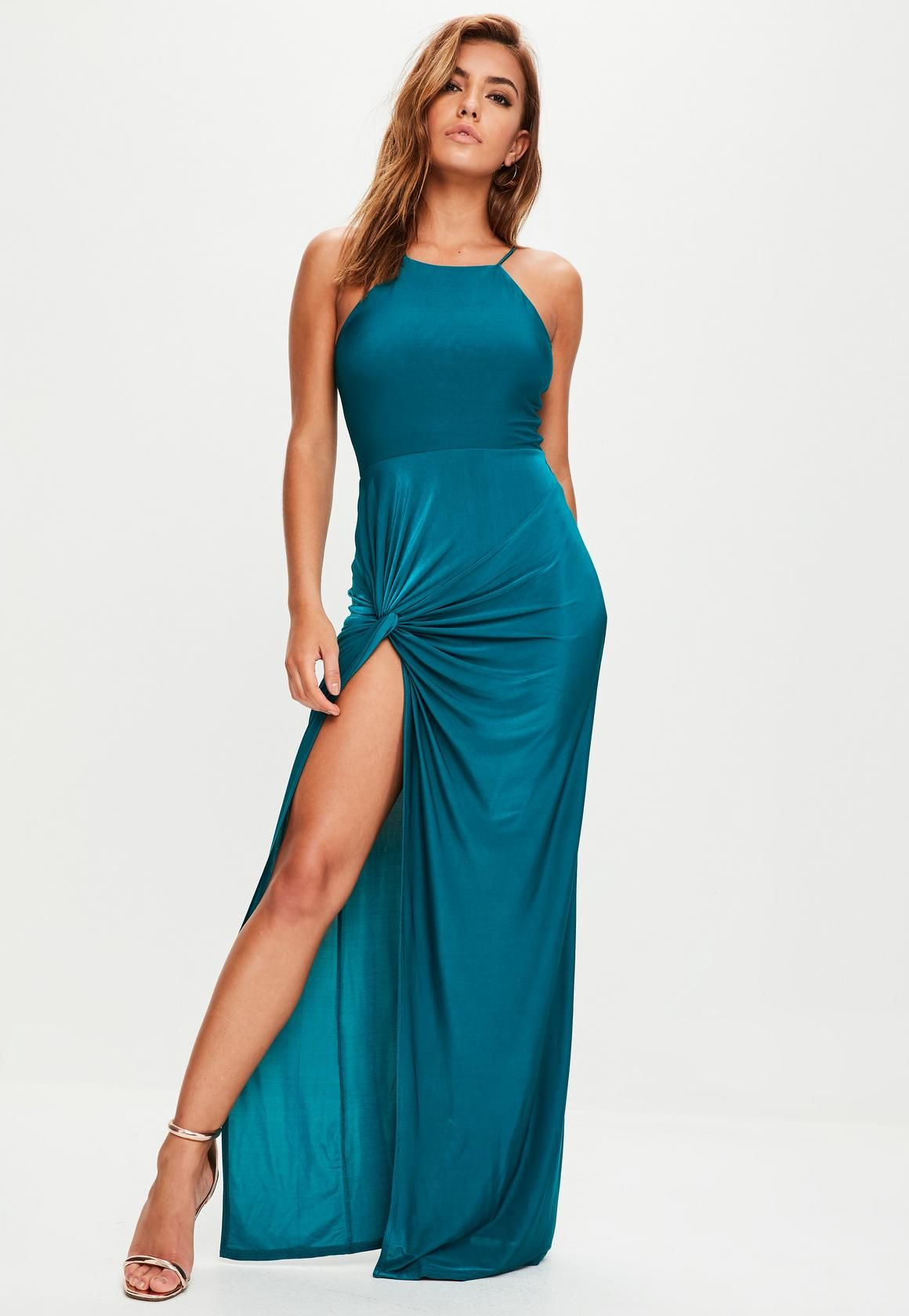 7c5ddf1c82 Missguided - Teal Blue Slinky Maxi Dress | Photoshoot on Jetty ...