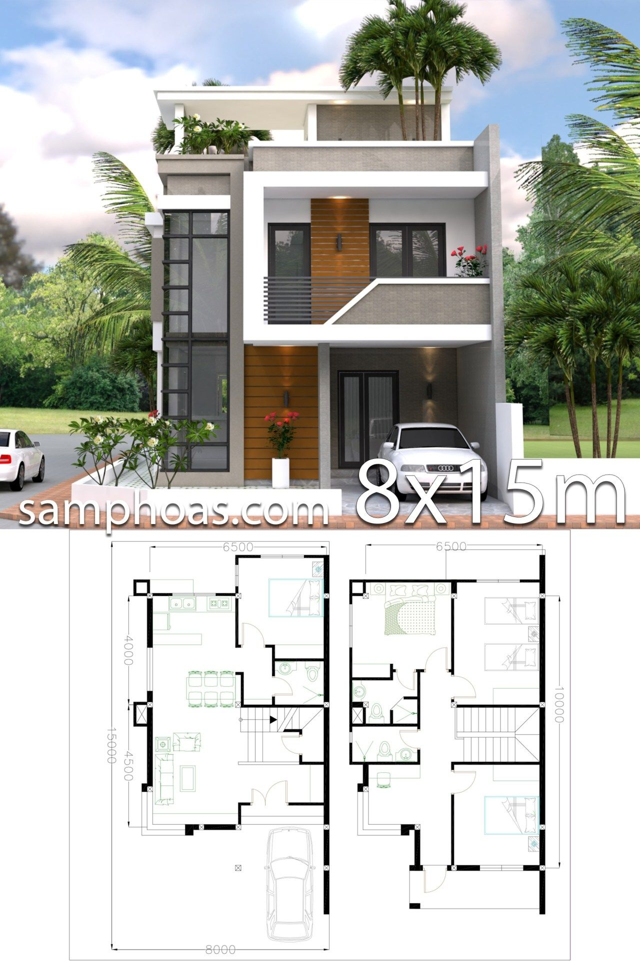 Home Design Plan 8x15m With 4 Bedrooms Samphoas Plan House Construction Plan House Architecture Design Duplex House Plans