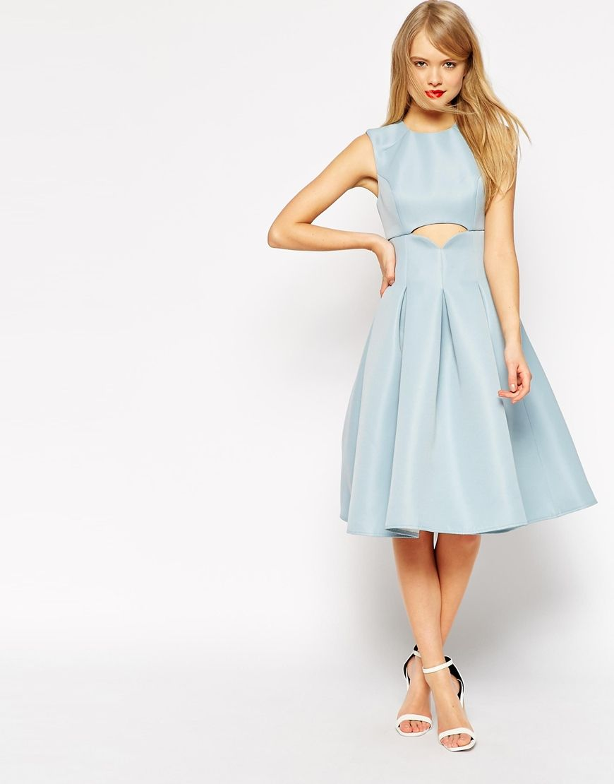 Asos midi dress with cut out detail and pleats fashion pinterest