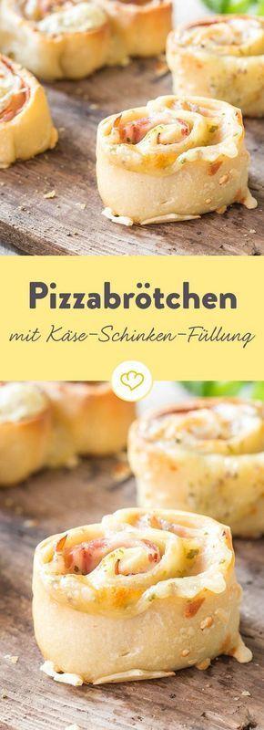 Füllung rein, glücklich sein – Pizzabrötchen mit Käse und Schinken #hefeteigfürpizza