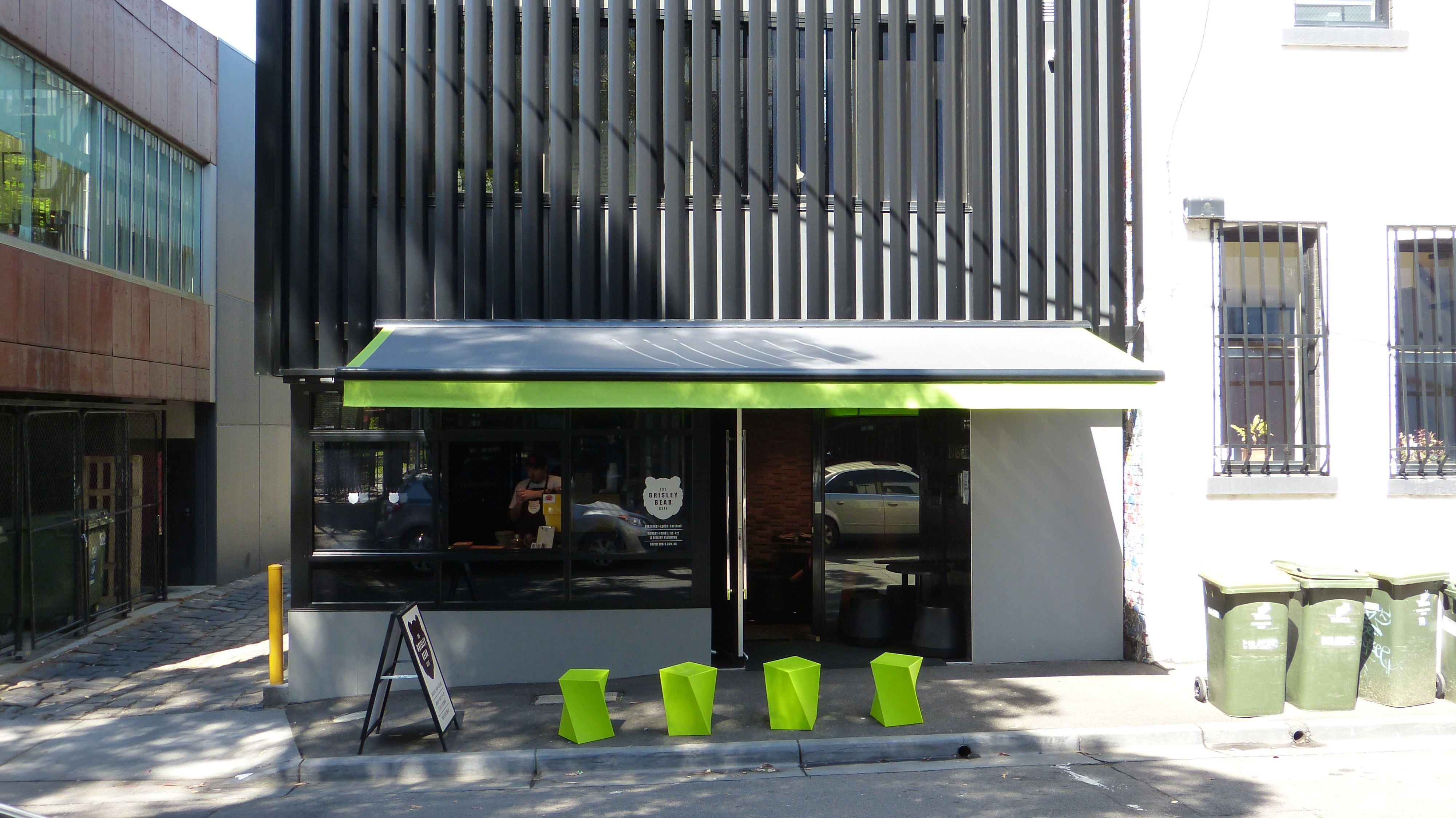 Semi Cassette Folding Arm Awning The Grisley Bear Cafe In Melbourne From The Melbourne Awning Centre Www Me House Blinds Cheap Blinds Vertical Window Blinds
