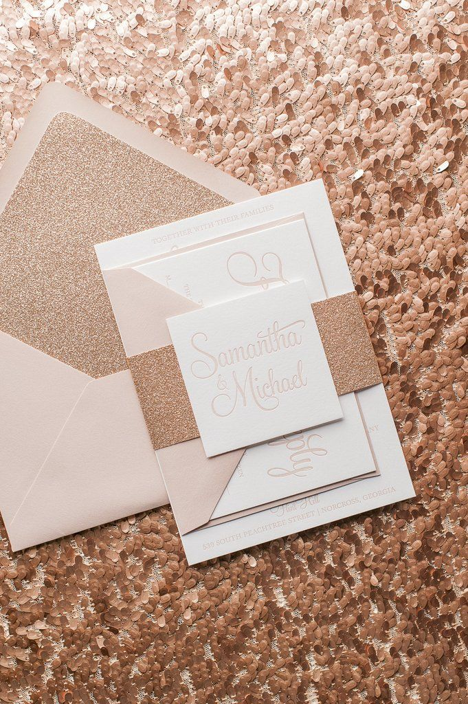 BAILEY Suite Glitter Package, affordable letterpress wedding ...