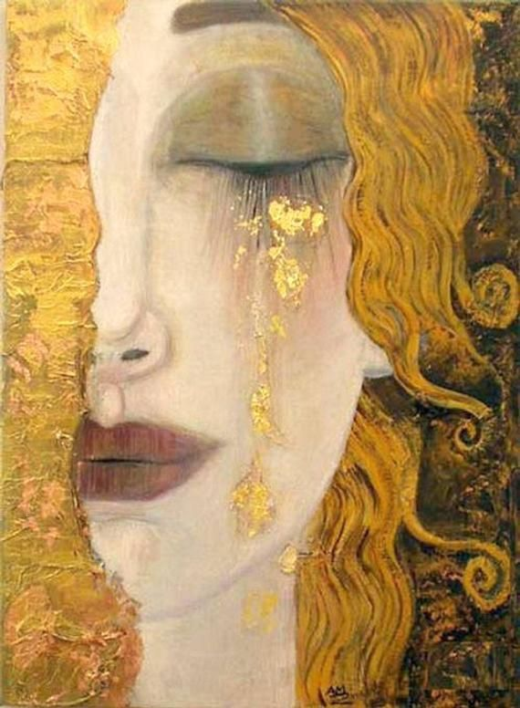 Freyas Tears by Gustav Klimt, 1900s art deco era, Goddess of love & sex, 8×10″ Print,Heartbroken woman, tears of gold, art deco art