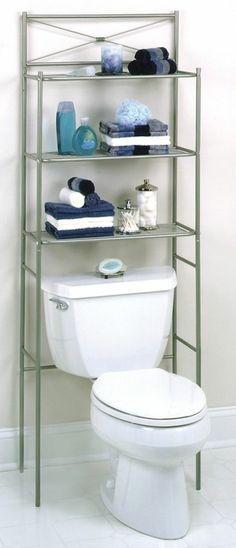 Bathroom Storage Shelves Towel Rack Holder Space Saver Steel Over ...