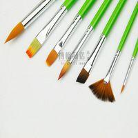 New Hot!7 pcs different shape nylon hair paint brush gouache ...