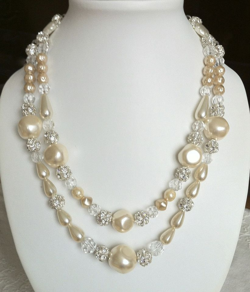 Cream & crystal 2-strand necklace