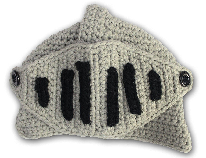 8a9c25f2fc0 Roman Cosplay Knight Helmet Visor Crochet Knit Beanie Hat Winter ...