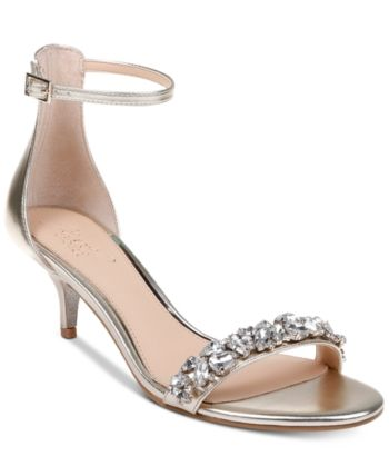 Jewel Badgley Mischka Dash Kitten-Heel Evening Sandals - Black 5.5M ...