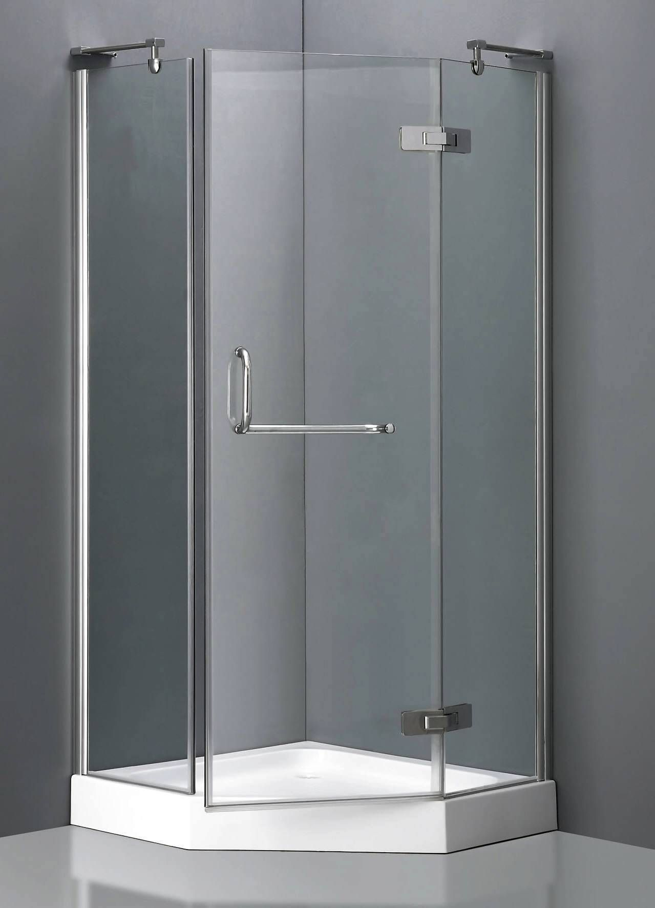 corner shower units with stylish grass door and stainless steel ...