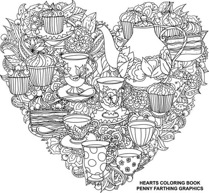 zentangle heart tea party coloring pages for adults | Abstract ...
