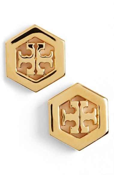 Tory Burch Logo Hexagon Stud Earrings Available At Nordstrom