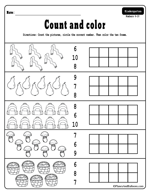 Free Printable Fall Counting Worksheets 1 10 For Kindergarten Kindergarten Math Worksheets Free Math Counting Worksheets Kindergarten Math Free