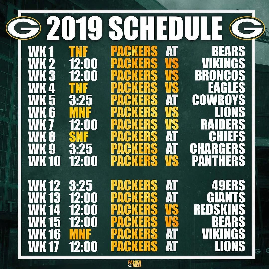 Packerposts On Instagram Your 2019 Green Bay Packers Schedule Gopackgo Green Bay Packers Fans Green Bay Packers Green Bay Packers Football