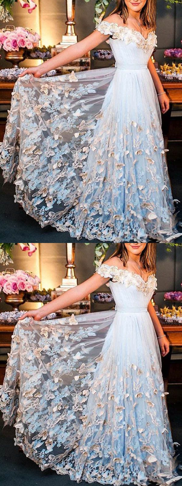 Off the shoulder vintage prom dress blue lace prom dress with sleeve