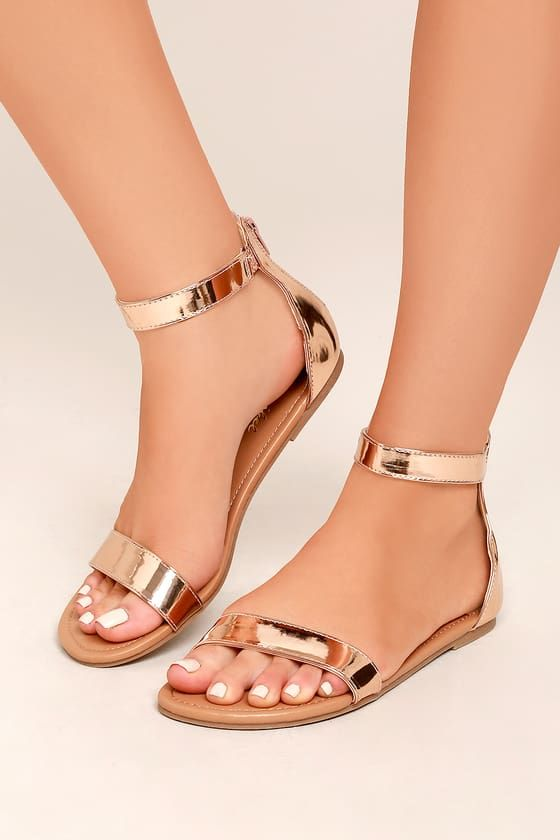 Wren Rose Gold Ankle Strap Sandals Homecoming Shoes Fashion Shoes Sandals Fashion Sandals
