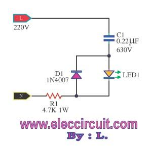 Many Simple Led Ac Mains Voltage Current Indicator Circuits Electronics Projects Led Electronics Circuit