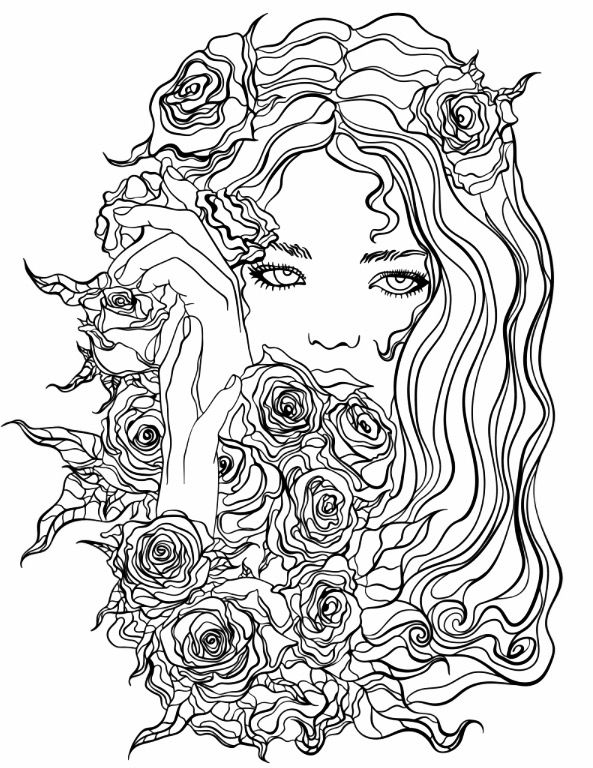 Pretty Girl with Flowers coloring page | Recolor App | Beautiful ...