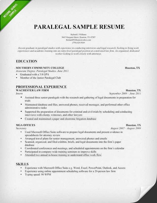 entry level paralegal resume samples - Paralegal Resume Sample