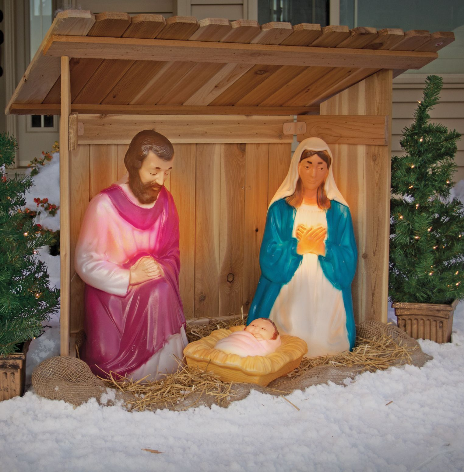 this lighted nativity set brings home the christmas miracle