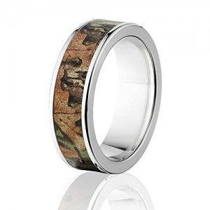 RealTree Xtra Green Official 7mm Wide Rings, Titanium Camouflage Ring