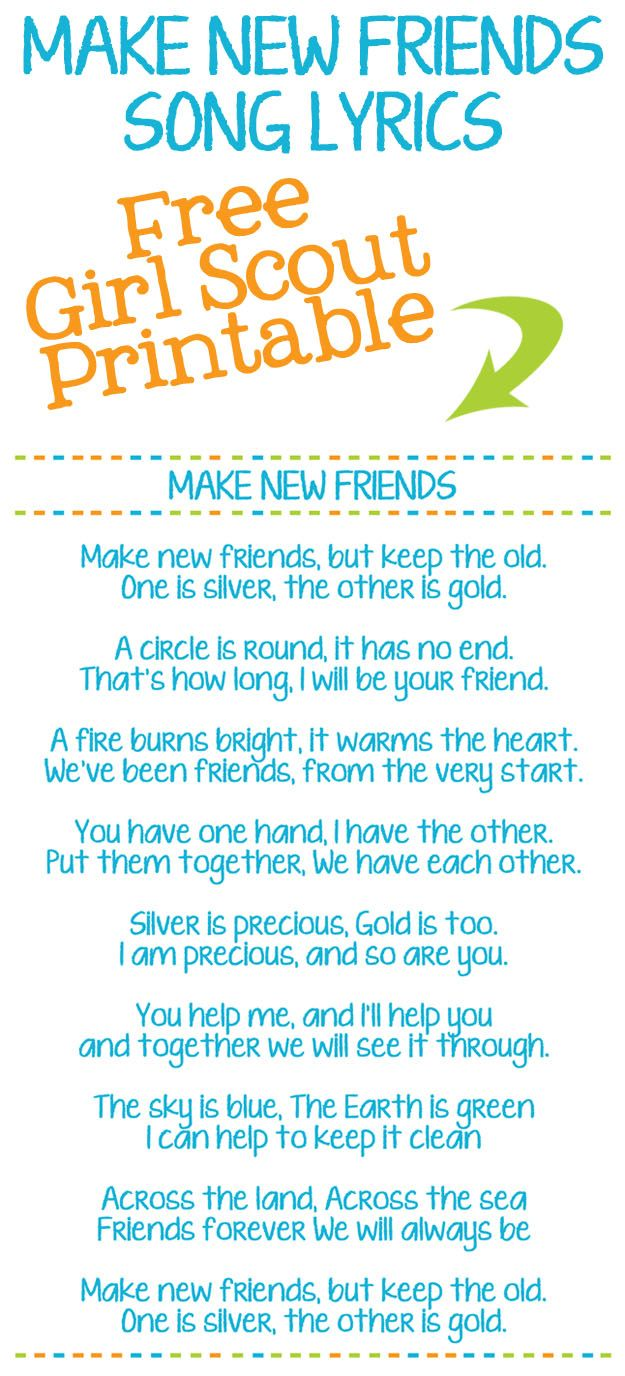 graphic relating to Make New Friends Song Printable identified as Deliver Refreshing Good friends Printable Lady Scout Track Lyrics Boy or girl Enjoyment