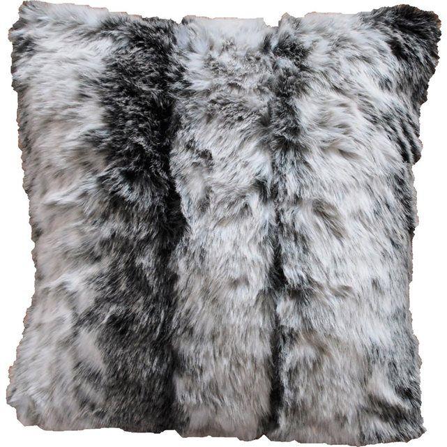 Coussin imitation fourrure gris AMARELLE
