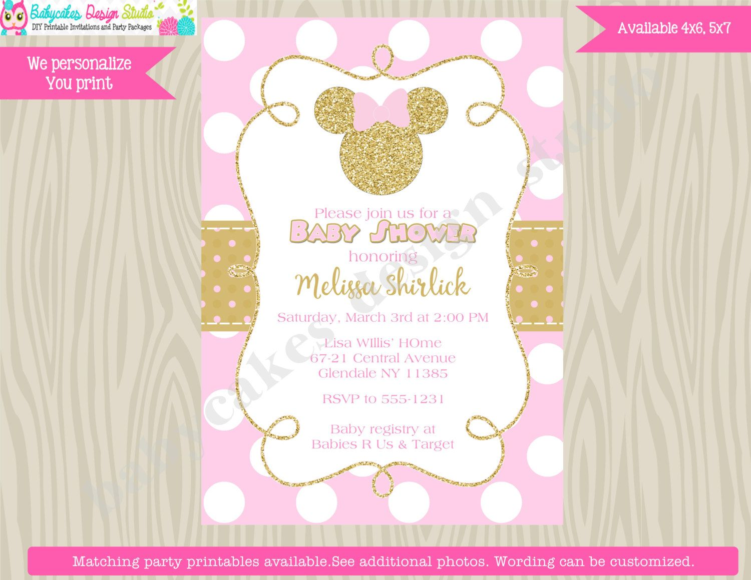 Minnie Mouse Baby Shower Invitation Invite Pink And Gold Minnie Baby Shower  Invitation Invite Digital Printable DIY By Jcbabycakes On Etsy