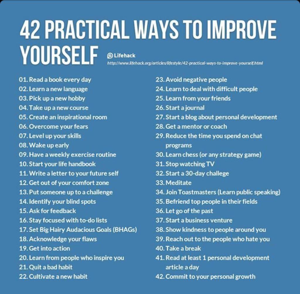 42 practical ways to improve yourself #KUtips