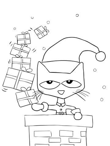Pete The Cat Saves Christmas Coloring Page Christmas