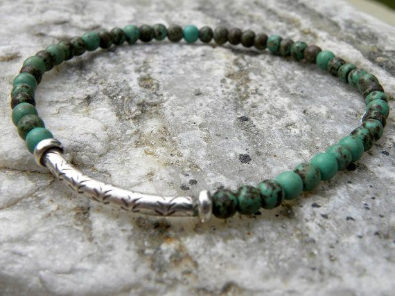Gemstone Bead  Bracelet  Elastic Stacking Sterling Silver Natural Nevada Turquoise Focal Bead, $39 (4mm) TANGRA2009 on Etsy