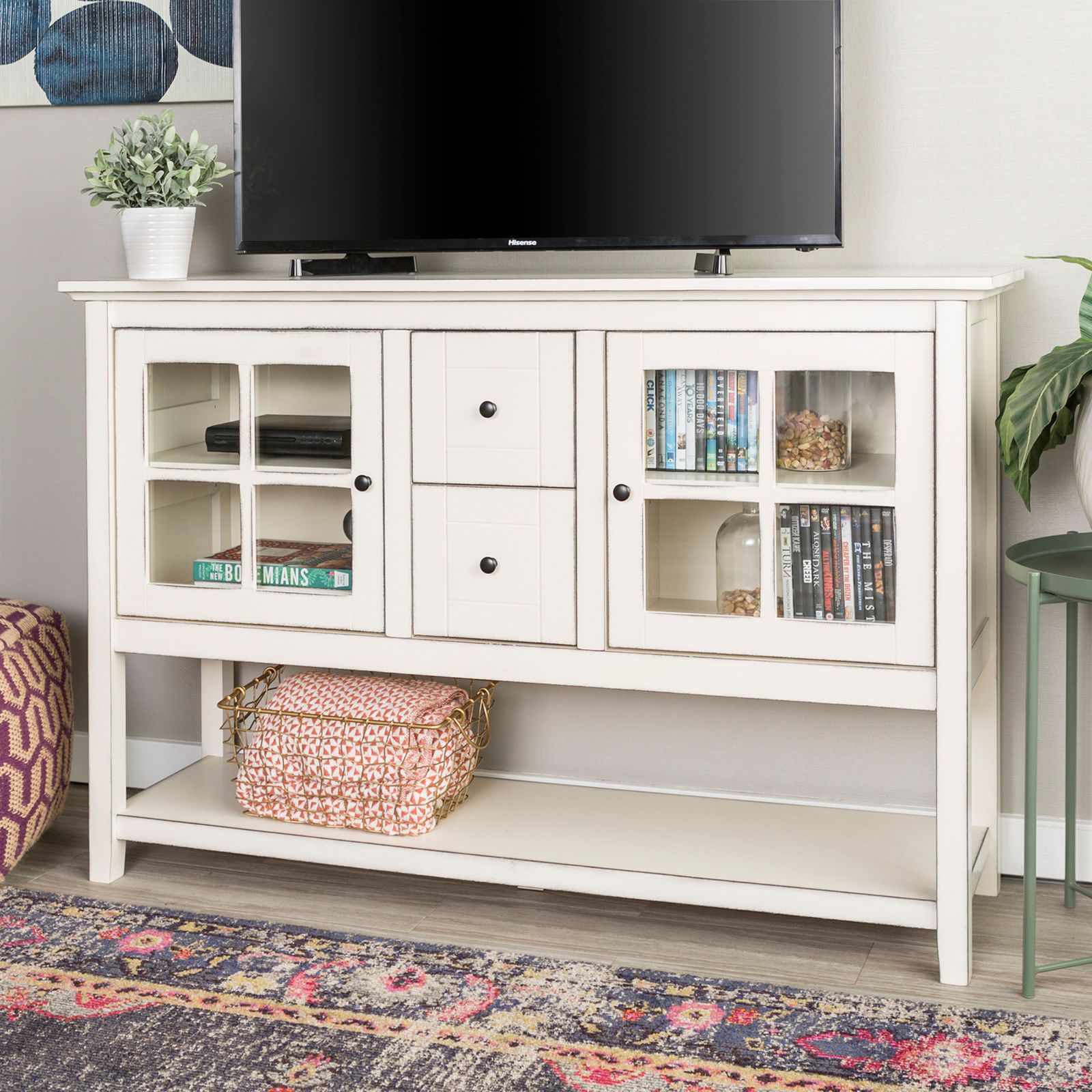 52 Wood Tv Stand Media Storage In Antique White Pier 1 Saracina Home White Tv Stands Console Table