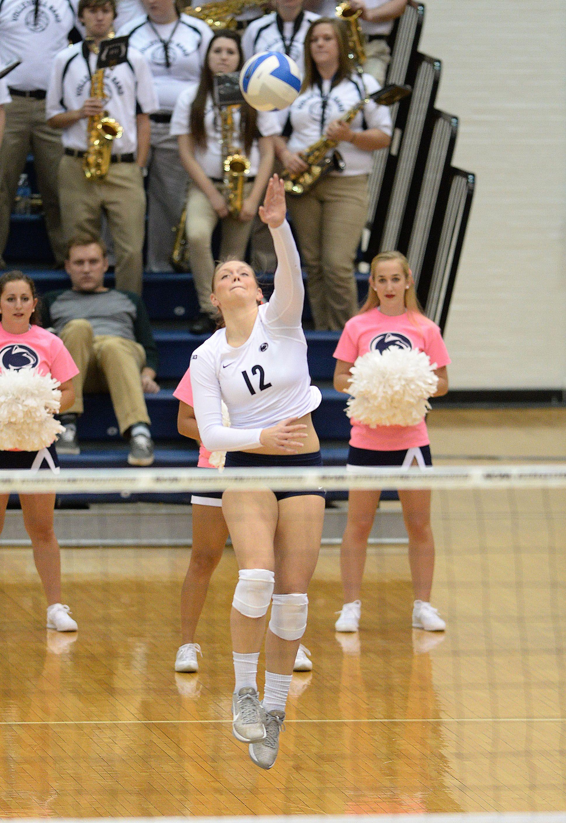 Penn State Athletics Micha Hancock Booms One Of Her Serves Ariel Scott And Katie Slay Block Shot At Net And Penn State Athletics Athlete Volleyball Photos