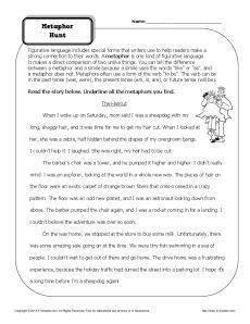 Metaphor Hunt Worksheet Figurative Language Worksheets