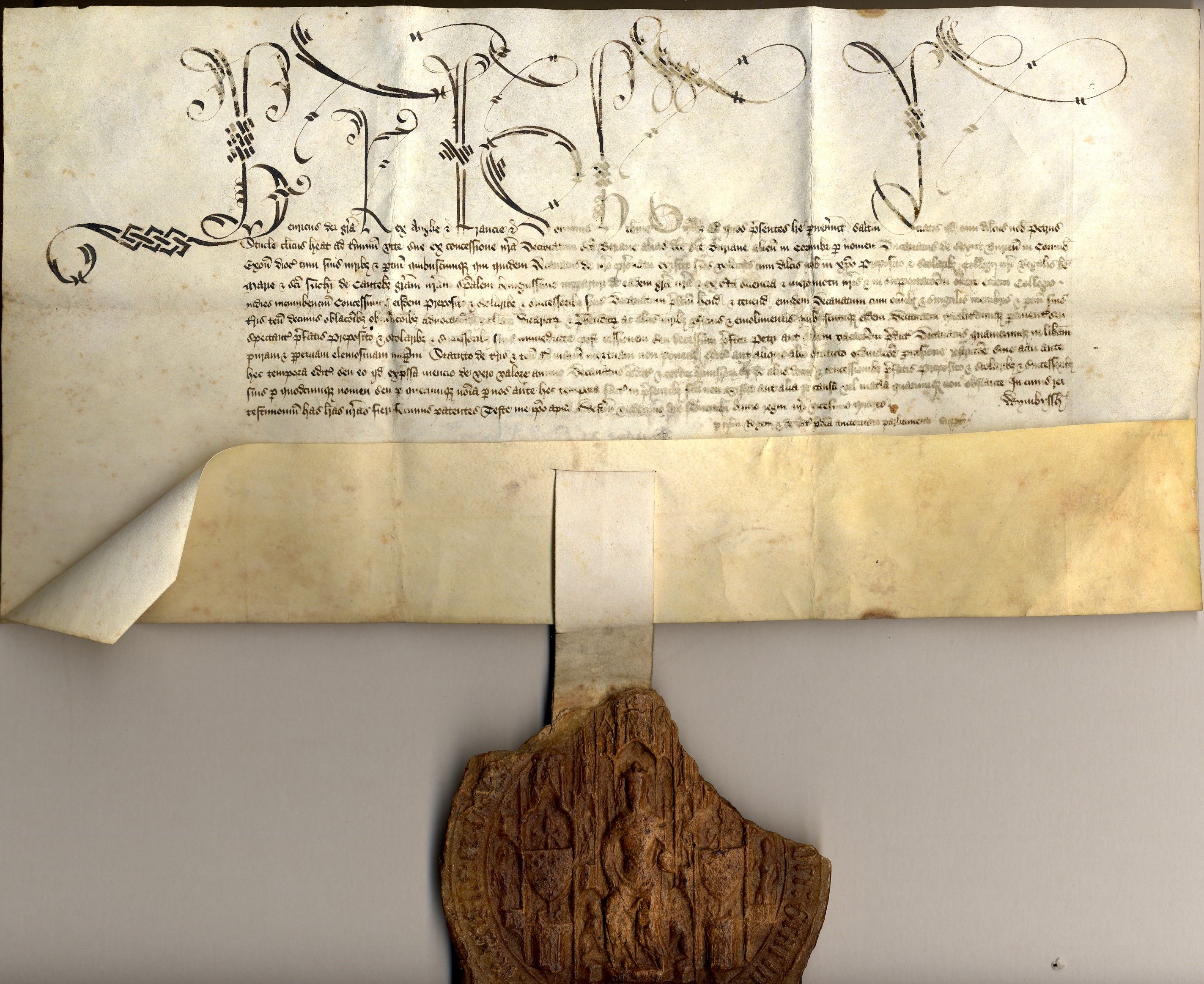 Founder's grant written on parchment in Latin, with a