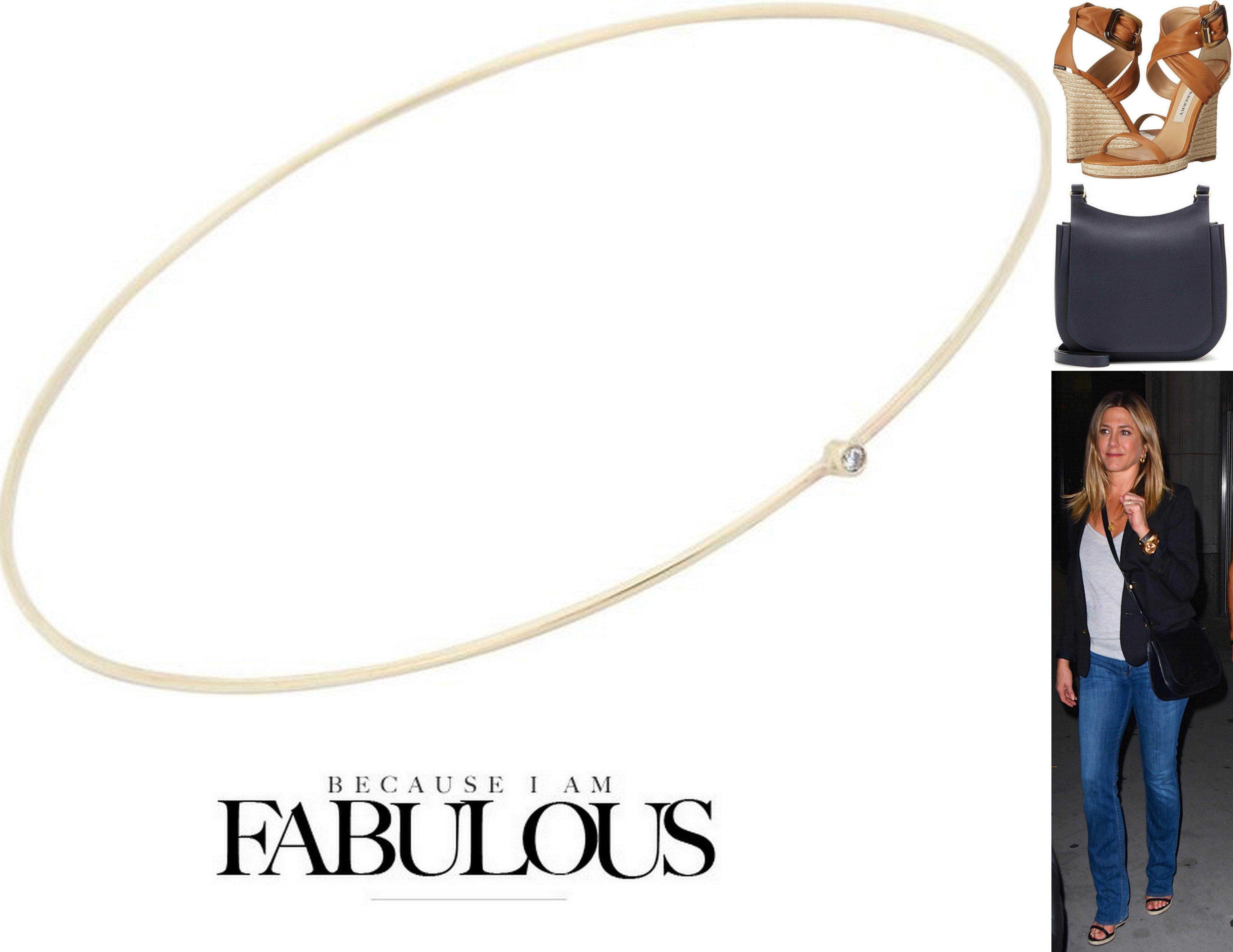 Shop Celebrity Closet Jennifer Anistons The Row Handbag Meyer Jewelry Burberry Espadrille