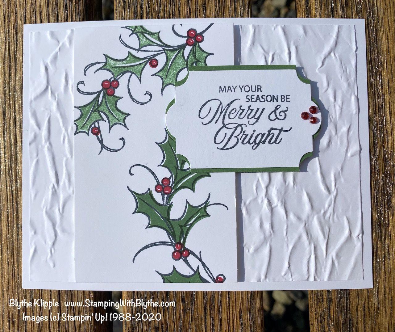 Joyful Holly In 2020 Stamped Christmas Cards Joy Christmas Card Christmas Cards