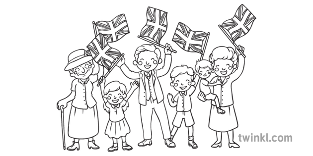 Ve Day Colouring Page People Celebrating Uk Ks1 Black And White Rgb Coloring Pages Happy St George S Day Black And White