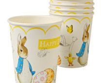 SALE! Beatrix Potter Peter Rabbit Easter Paper Cups- Set of 12 Meri Meri Hot or Cold Paper Cups - Perfect for your Easter Party or Brunch!
