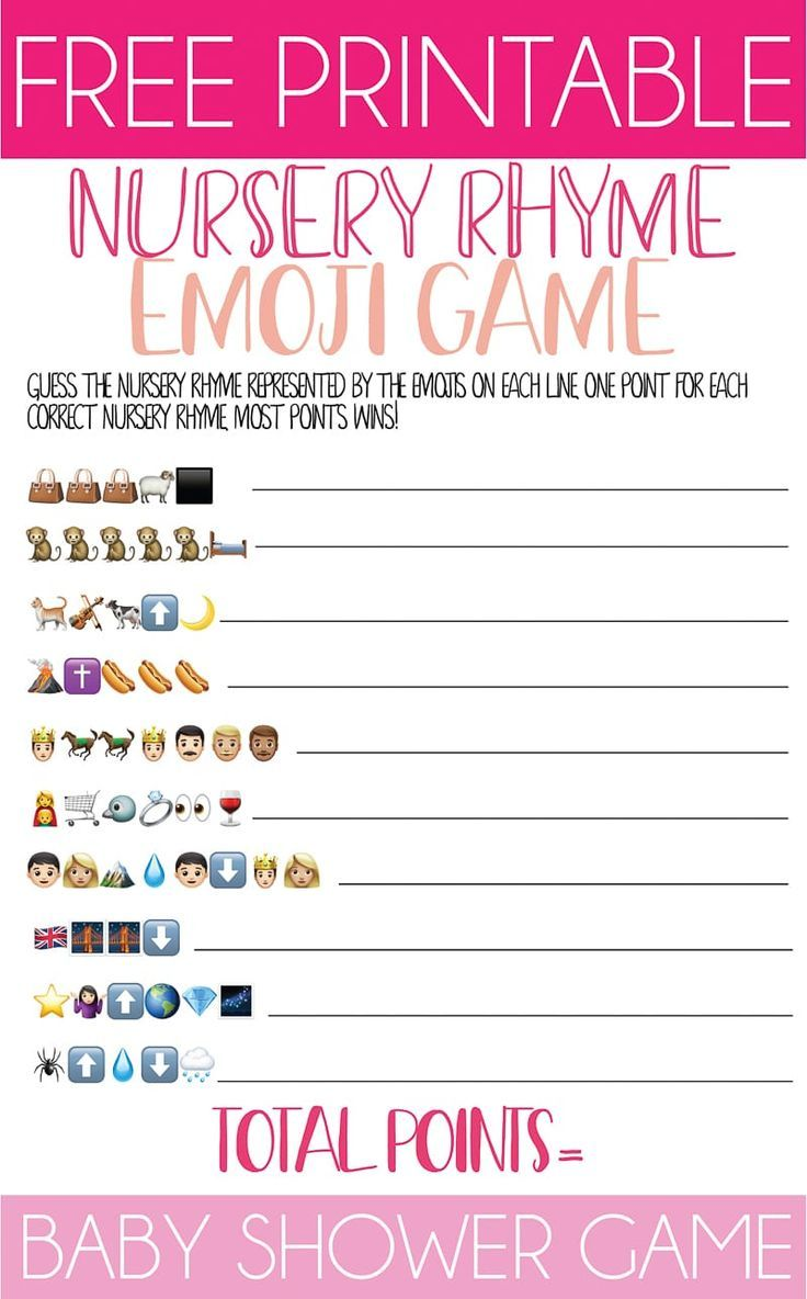 Free Printable Nursery Rhyme Baby Shower Emoji Game ...