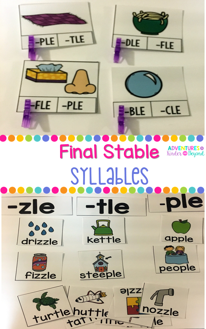 Premise Indicator Words: Final Stable Syllables -LE Picture Sort, Clip Cards And