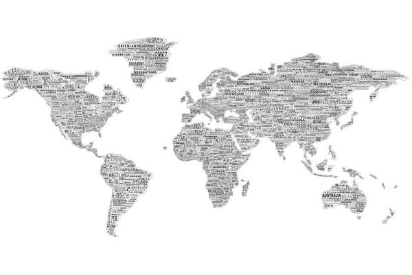 One World Wall Map Mural Black on Whitewith names of countries