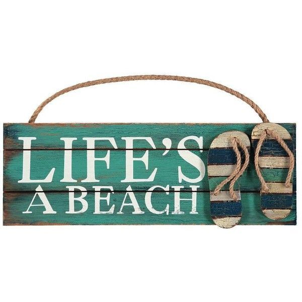 16\ X 1\ Lifeu0027s A Beach Wooden Wall Plaque Liked On Polyvore Featuring Home