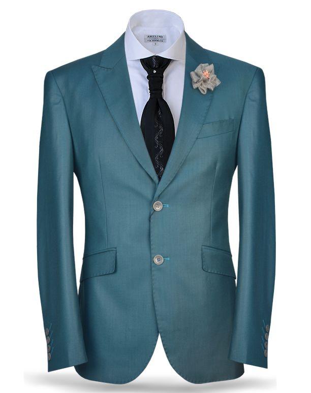 Angelino fashion men\'s suit. slim fit, peak lapel, and back side ...