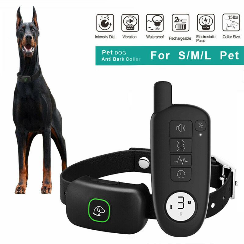 Dog Shock Collar 985 Ft Remote Ip67 Rechargeable Pet Dog No Bark