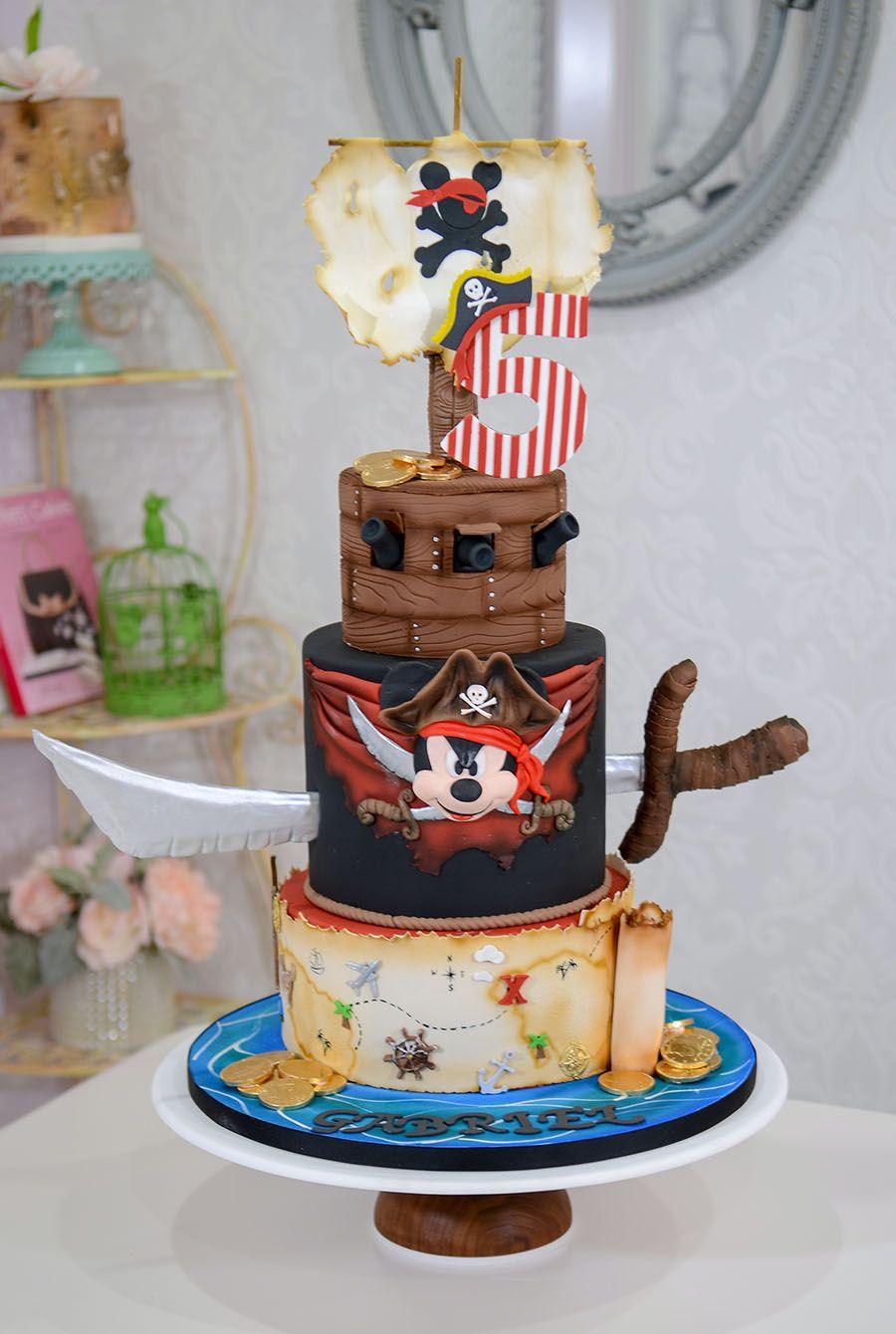 Mickey Pirates Theme Cake By Elegant Temptations Custom Bakery Miami Florida