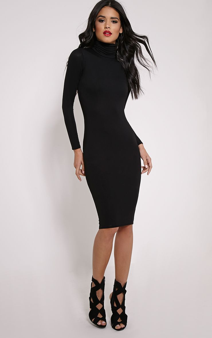 cf50d4dd51 Basic Black Roll Neck Midi Dress Image 1