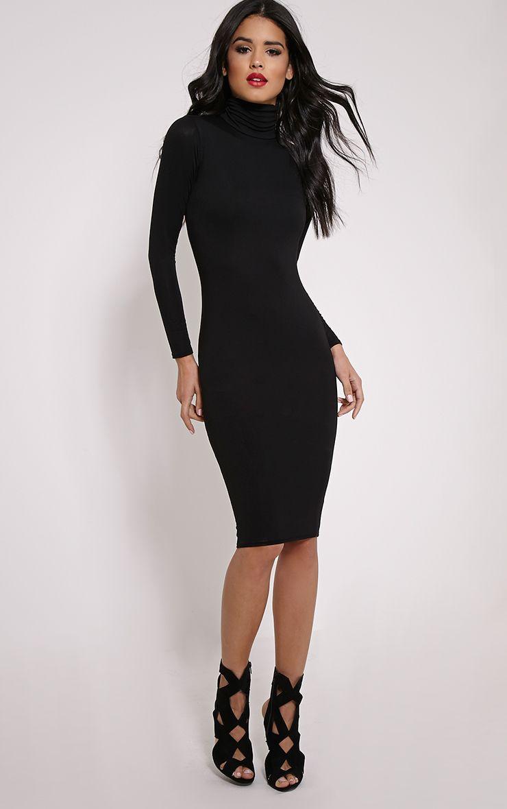 19dd77b573c Basic Black Roll Neck Midi Dress Image 1