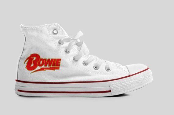 David Bowie Logo Hi Top Unisex Canvas Boots  Trainers